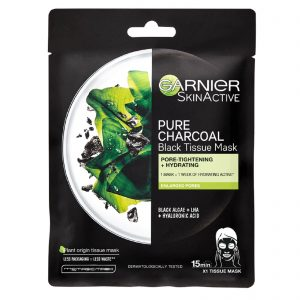 Garnier Skin Active Pure Charcoal Black Tissue Mask – Pore Tightening & Re-hydrating