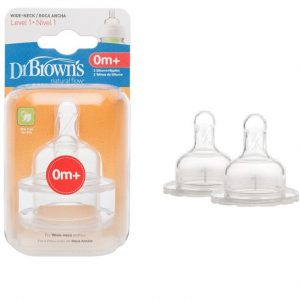 Dr Brown's Wide Neck 0m+ 2 Pack Teats