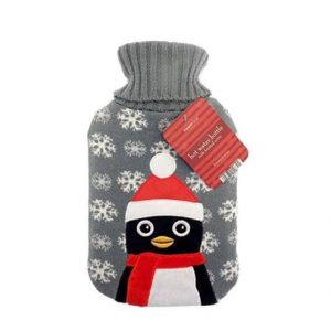 Christmas Hot Water Bottle With Knitted Cover – Penguin