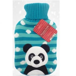 Christmas Hot Water Bottle With Knitted Cover – Panda Bear