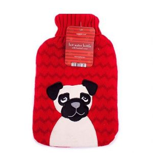 Christmas Hot Water Bottle With Knitted Cover – Pug